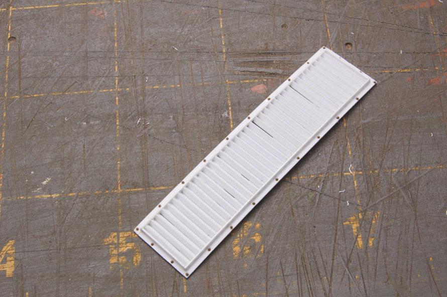 "Scratchbuilt radiator grill 1/4"" scale."