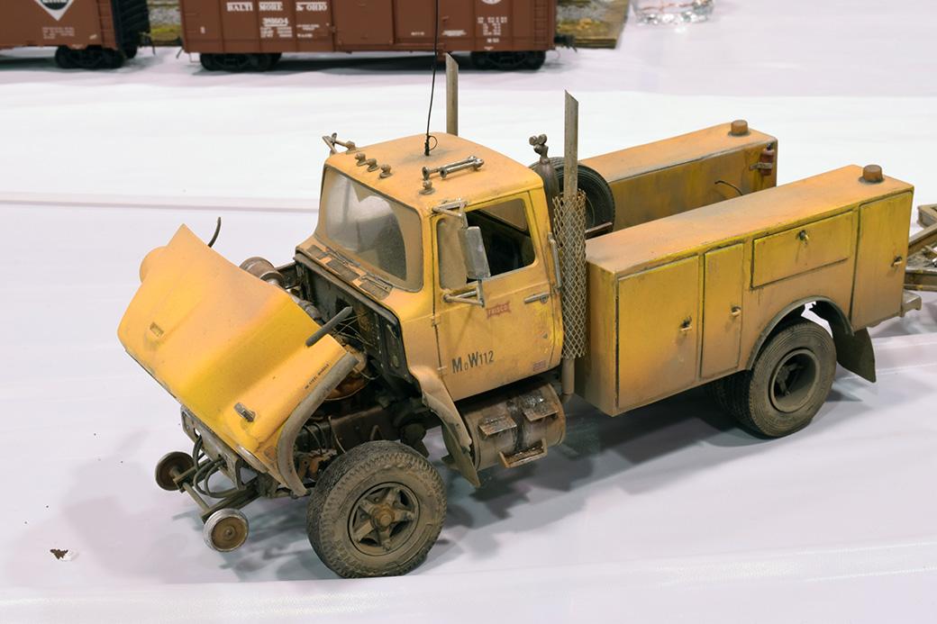 Steve Hurt's Hi-rail truck and trailer with backhoe