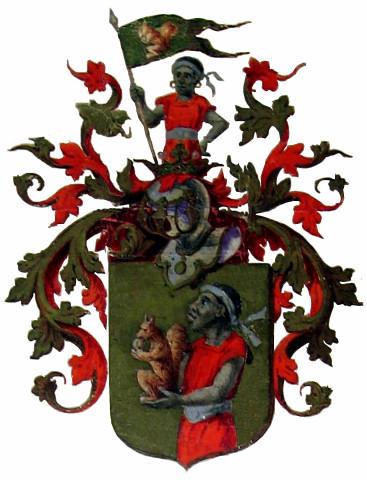Herb Jana Bażyńskiego: wiewiórka i Murzyn