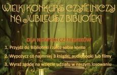 ZAPRASZAMY NA WIELKI KONKURS CZYTELNICZY Z OKAZJI JUBILEUSZU BIBLIOTEKI