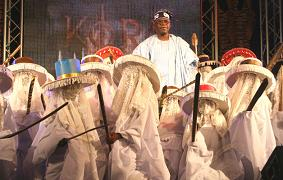 Asiwaju Bola Ahmed Tinubu, leader of Nigeria's opposition honored with a cultural troupe by KORA