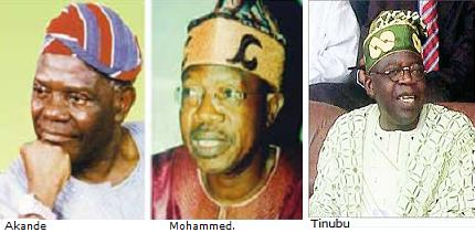 Nigeria's Opposition, Action Congress AC leaders Akande, Mohammed and Tinubu