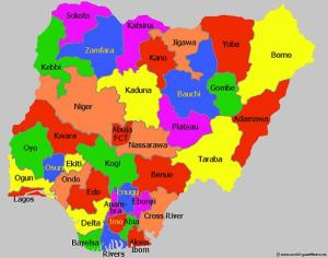 NIGERIA MAP OF 36 STATES