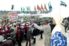 Ogbeni Rauf Aregbesola, addressing a cross section of Cadets of Osun Youth Empowerment Scheme (O-Yes)