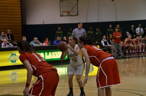 Senior guard Kassie Kleine attempts a free throw in the Lakers' 38-35 win over SUNY Cortland on Tuesday. (Nick Graziano | The Oswegonian)
