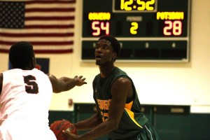 Junior Rashawn Powell stepped up for Oswego State today as a leader of scoring and rebounding in the Lakers win over SUNY Potsdam this afternoon. (David Armelino | The Oswegonian)