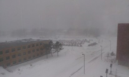 A look at snowy conditions at Oswego State in the late morning and afternoon of Feb. 2, a campus-wide class cancellation wasn't enacted until the evening hours.  (David Bubbins | The Oswegonian)