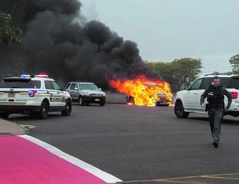 Car engulfed in flames at Oswego field hockey game