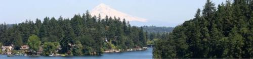 Oswego Lake, with Mt. Hood in the distance.