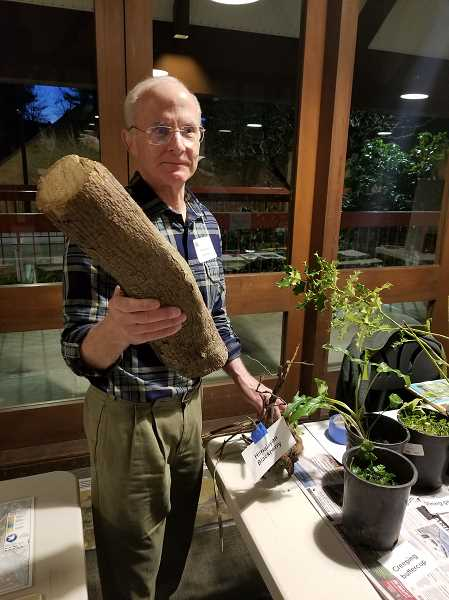 Council member Mike Buck displays invasive plants that have been removed during projects – that chunk of wood is an ivy vine! Photo: Anthony Macuk