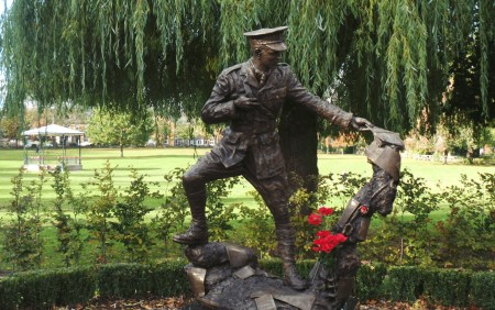 The statue of Wilfred Owen in Cae Glas Park, Oswestry