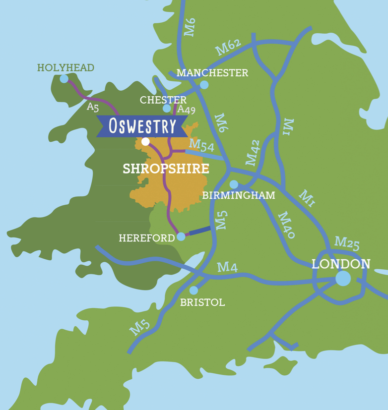Where to find Oswestry - maps and directions