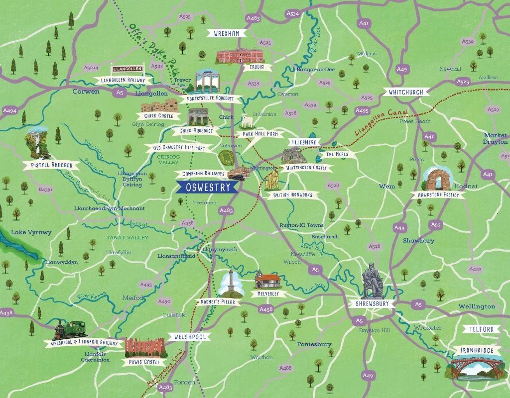 Map - Oswestry The Welsh Borderlands