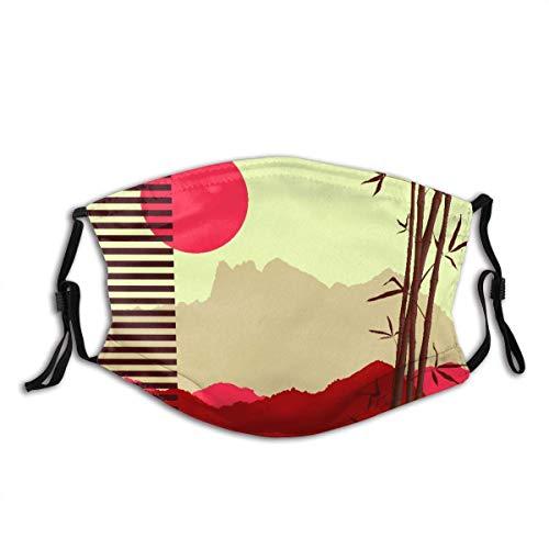 Gesichtsschutz Mundschutz Japanisches Thema mit Bambus und Bergen Sturmhaube Mund Bandanas Halsmansc