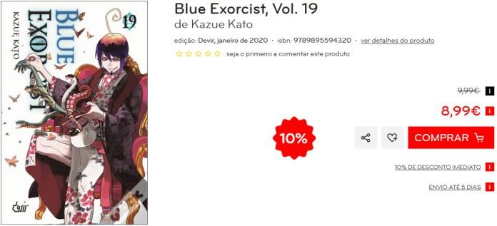 Devir lançou Blue Exorcist 19 Wook