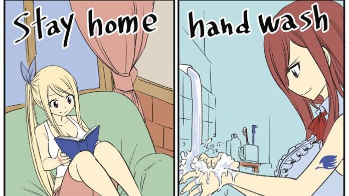 Criador de Fairy Tail desenha imagem a promover distanciamento social