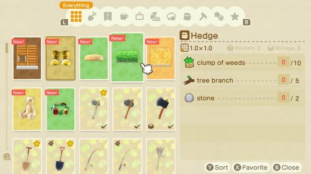 Animal Crossing: New Horizons Hedge Recipe