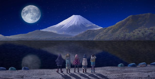 Yuru Camp girls and Mt. Fuji