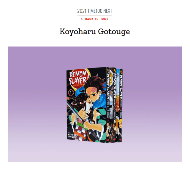 Koyoharu Gotouge on Time100 Next list