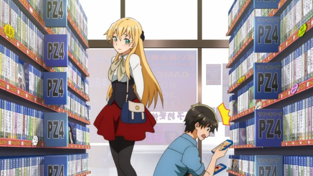 gamers characters keita and karen browse a shop