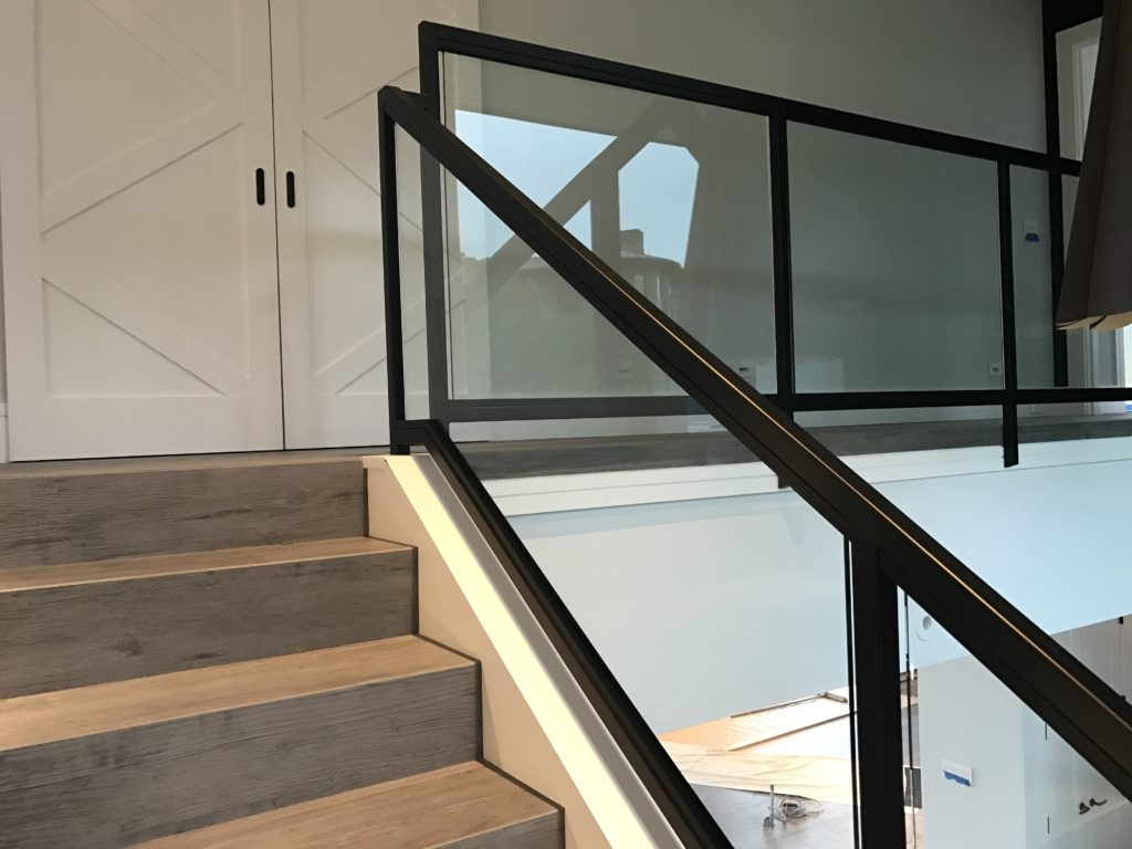 Interior Glass Stair Railing • Ot Glass   Tubular Design For Stairs   Finished   Minimalist   Decorative Wood Railing   Contemporary   Home Tower
