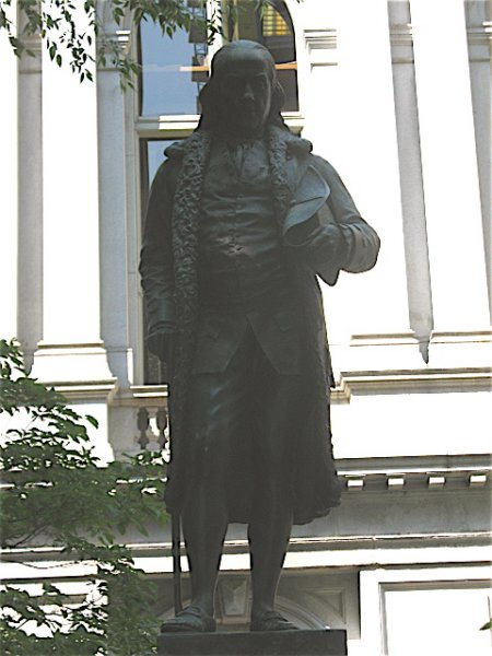 Benjamin Franklin statue at Old City Hall