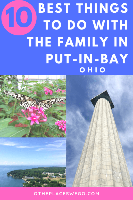 If you're looking for an island escape check out the 10 best things to do on Put-in-Bay, Ohio with the family including exploring the island by golf cart, caves, going up the National Park memorial, mini golf, watching butterflies, and so much more!