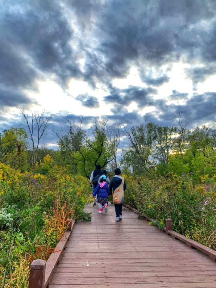 Adventures await at Red Oak Nature Center in Batavia by the Fox River with a cave, trails, a nature-based playground at Lippold Park.