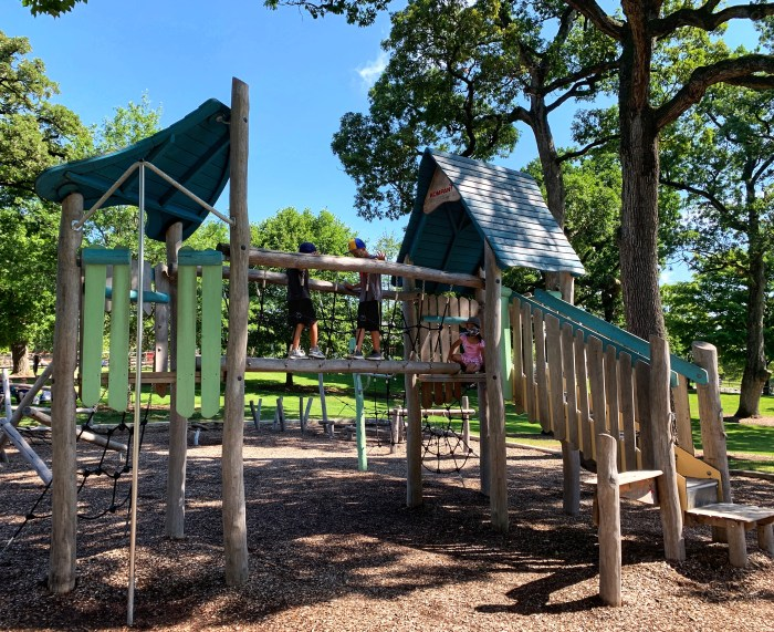 """Randall Oaks Park in West Dundee has three fun playgrounds including the newly revamped """"hidden"""" playground."""