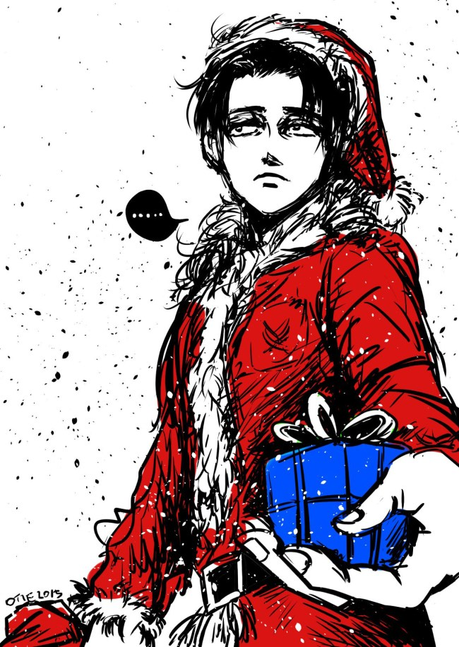 SNK,attack on titan fan art,levi ackerman,SNK xmas