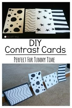 DIY Contrast Cards. Contrast cards are perfect for your newborn baby girl or newborn baby boy. Make these simple cards and see all the benefits to contrast cards for your baby! #baby #babygirl #babyboy