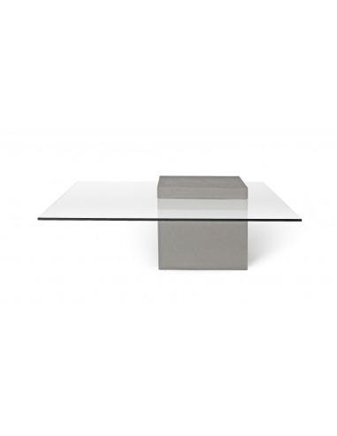 table basse en verre et en beton