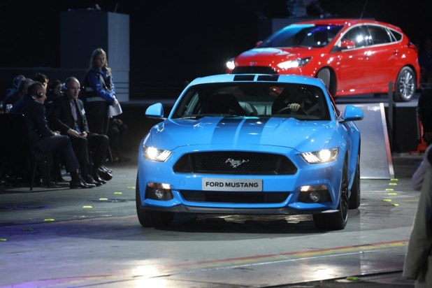 Ford Mustangs drive through the arena at the Ford Go Further Event Ford of Europe Go Further 2016. 29 November 2016 Photo: Neil Turner/Timbismedia for Ford of Europe