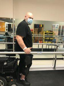 Richard Gordon uses the parallel bars at The Ottawa Hospital Rehabilitation Centre