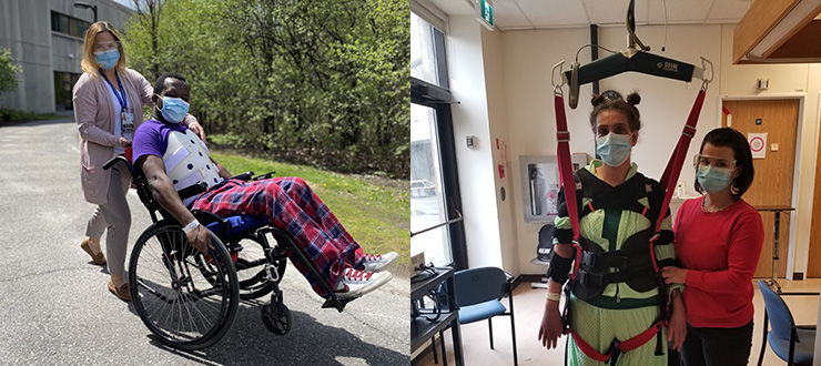 patient performs a wheelie in a wheelchair supported by physiotherapist Melanie White (left). Lodi Sculthrope stands in a harness being supported by Andrea Chase (right).