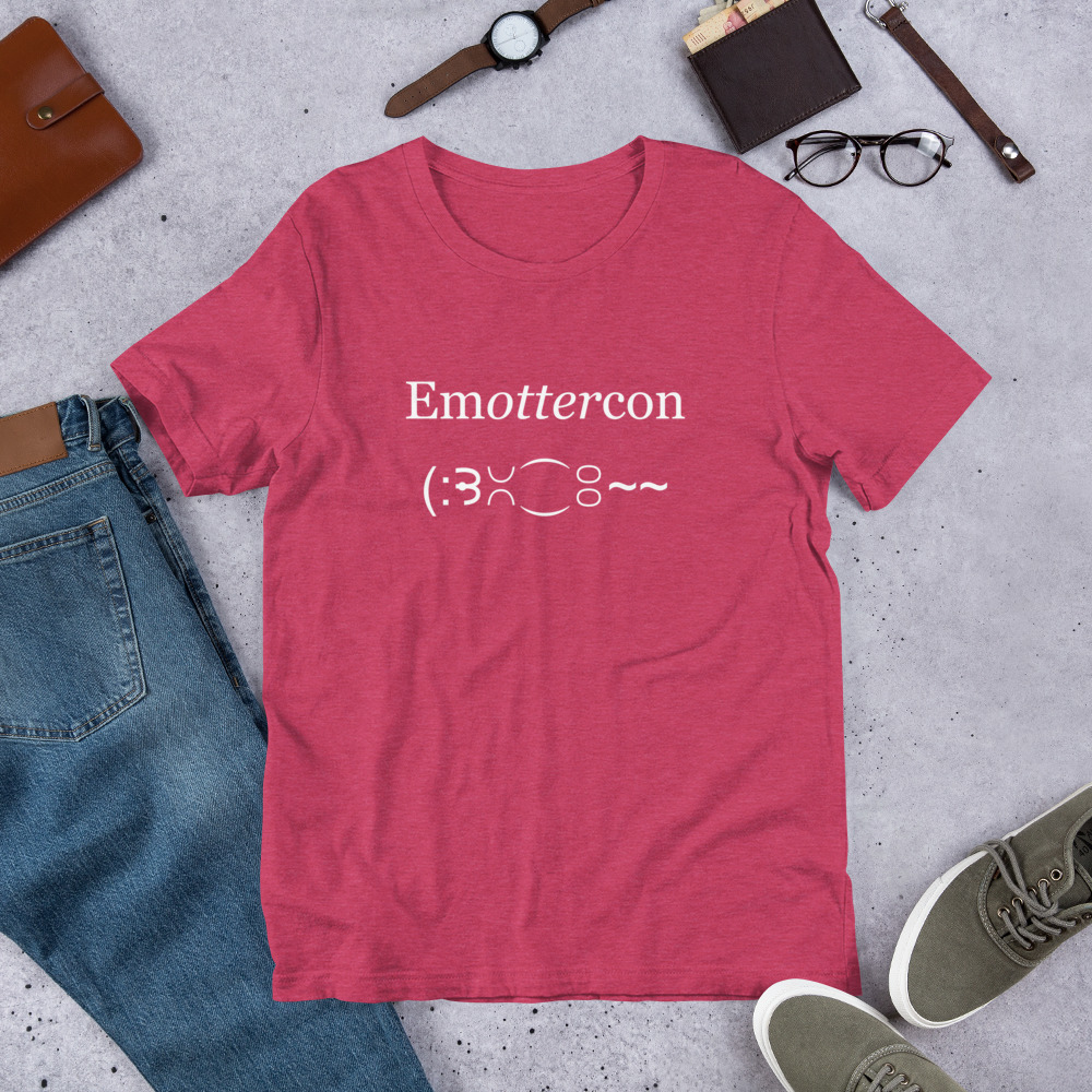 Emottercon2-Unisex T-Shirt-clothes_mockup_Front_Flat-Lifestyle_Heather-Raspberry