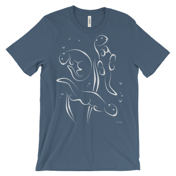Otters Swimming Steel Blue T-shirt