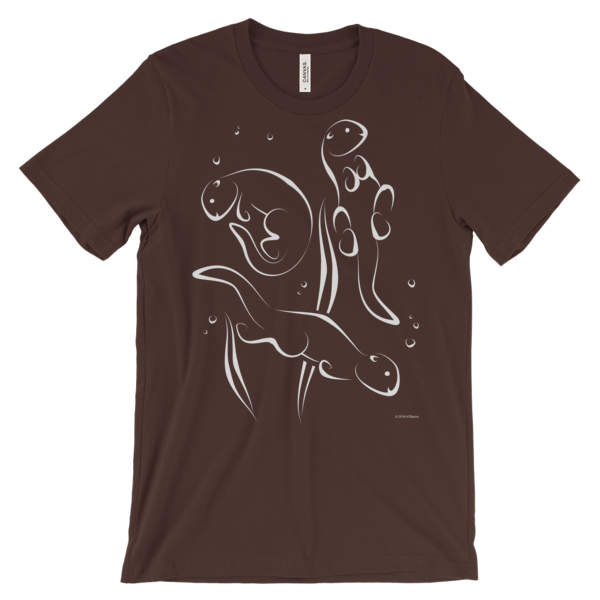 Otters Swimming Brown T-shirt
