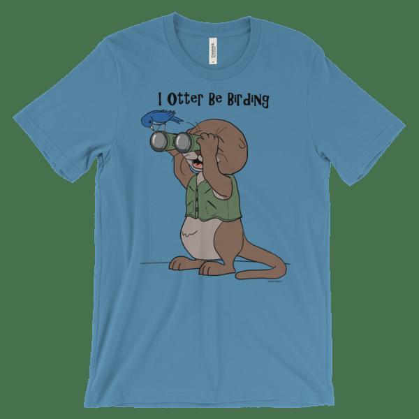 I Otter Be Birding Ocean Blue T-shirt