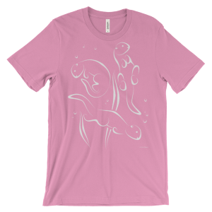 Otters Swimming Pink T-shirt