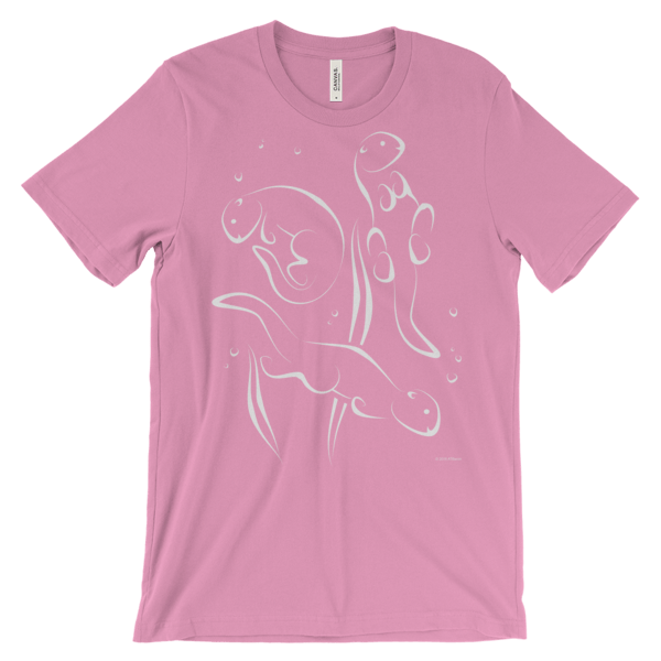 Otters Swimming Pink T-shirt