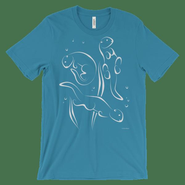 Otters Swimming Aqua T-shirt