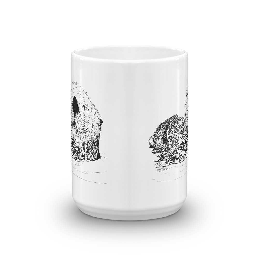 Pen & Ink Sea Otter Head Mug mockup_Front-view_15oz
