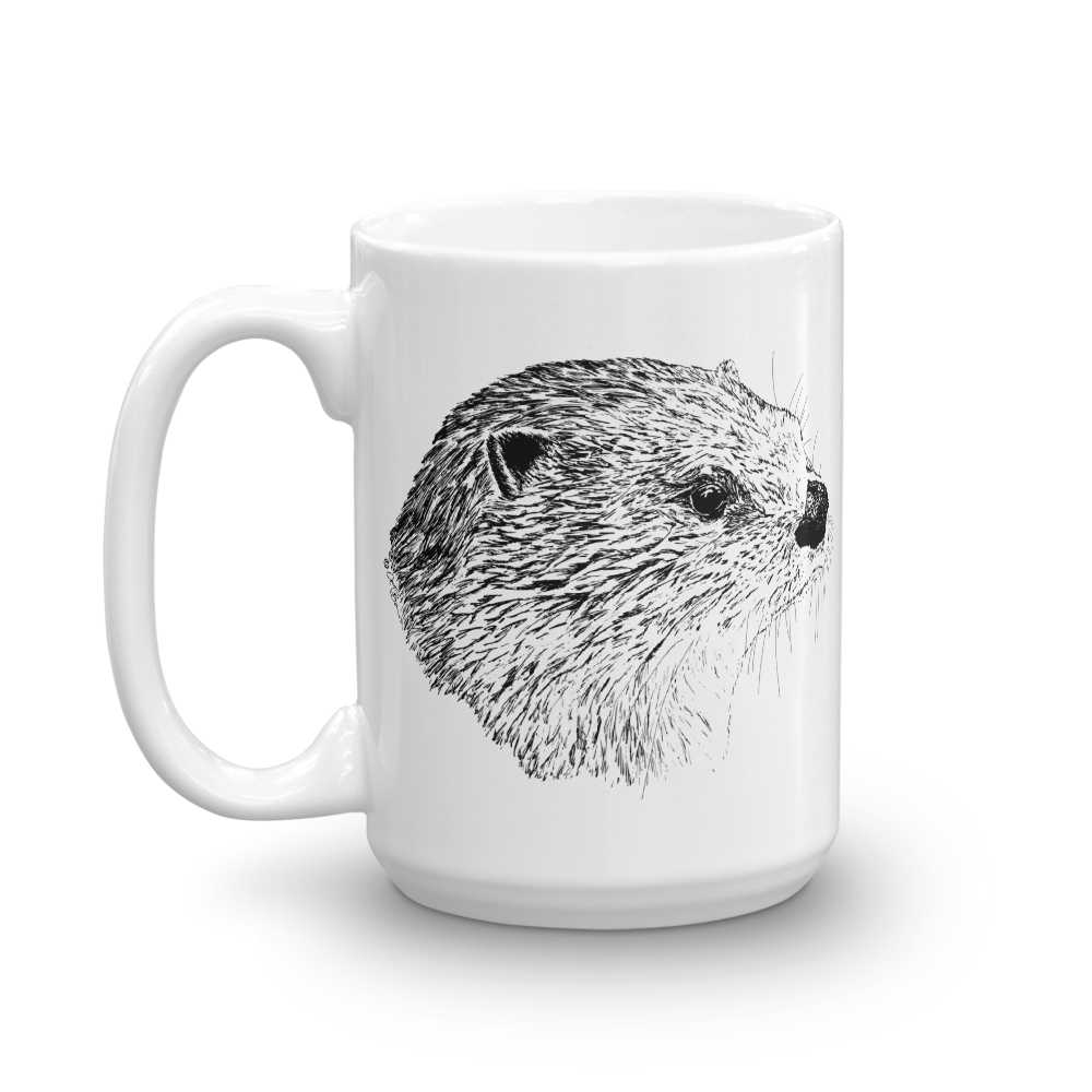 Pen & ink River otter Head Mug mockup_Handle-on-Left_15oz