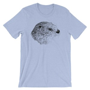 Pen & Ink River Otter Head Unisex T-Shirt_mockup_Front_Wrinkled_Heather-Blue