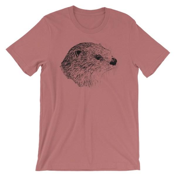 Pen & Ink River Otter Head Unisex T-Shirt_mockup_Front_Wrinkled_Mauve