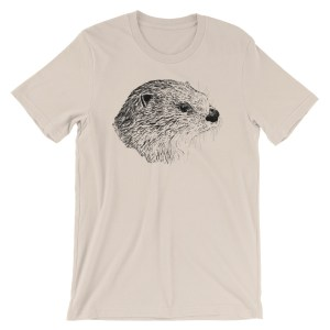 Pen & Ink River Otter Head Unisex T-Shirt_mockup_Front_Wrinkled_Soft-Cream