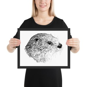 Pen & Ink River Otter Head Framed Poster with Person Mockup 12x16 in