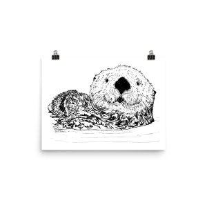 Pen & Ink Sea Otter Head Poster Mockup 12x16 in