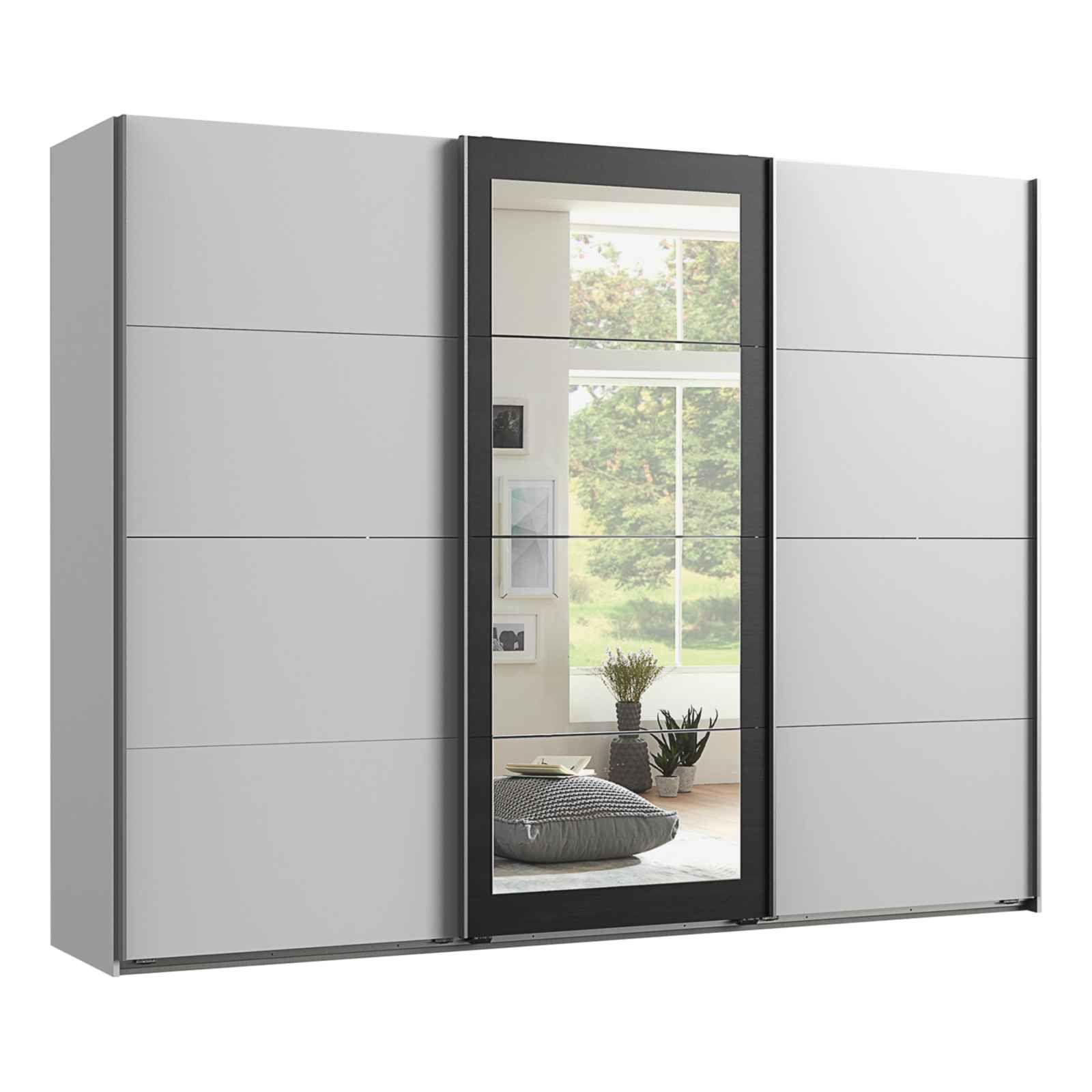 armoire a portes coulissantes minden decor blanc raw steel miroir 3 portes